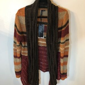 NWT Ethyl sweater cardigan size medium brown burgundy open front relaxed